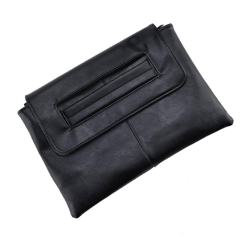 VRLEGEND Clutch Bag Purse, Women Leather Evening Wristlet Handbag Envelope Bags with Adjustable Strap (Black)
