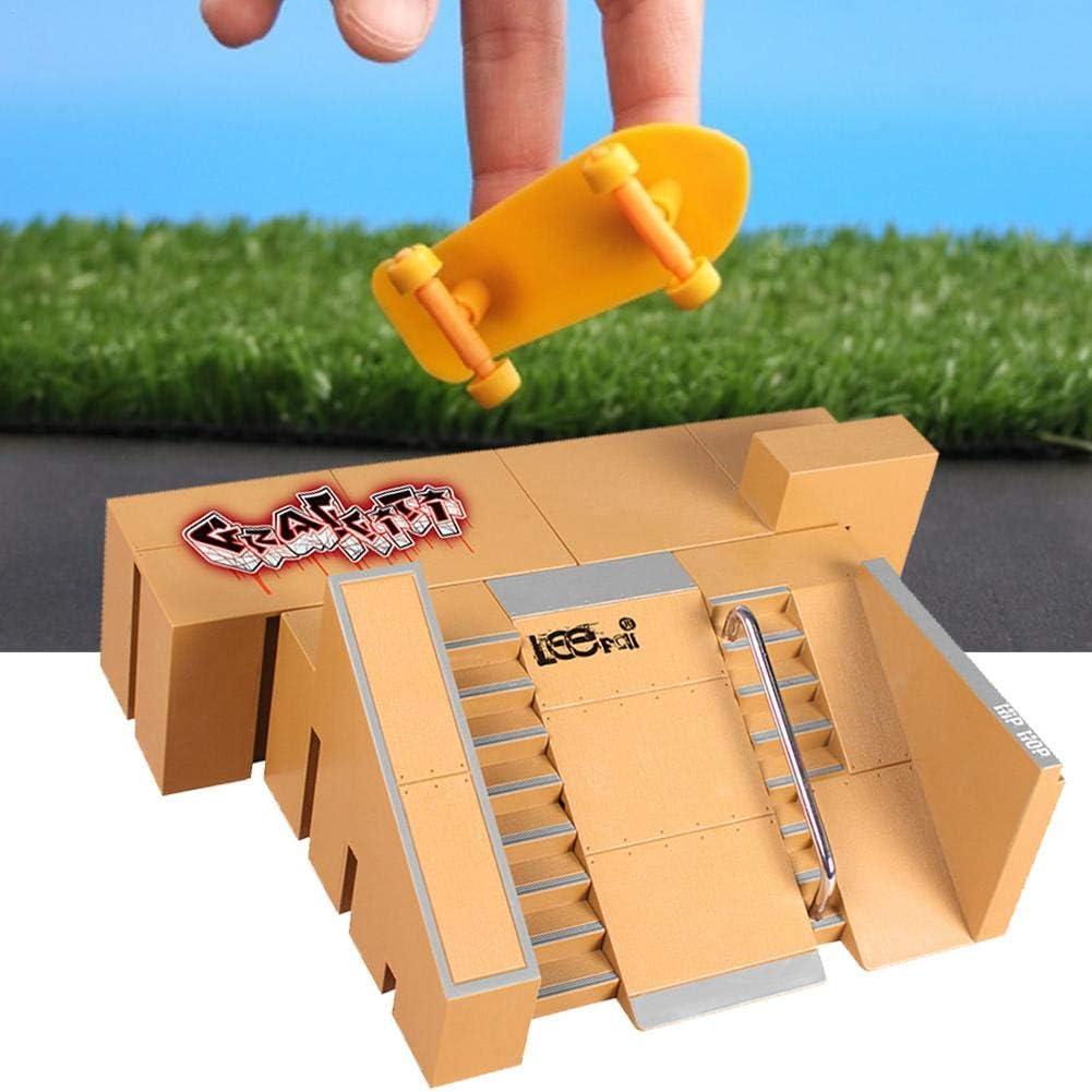 Skate Park Kit Finger Skateboard Park Toy Ramp Parts Mini Fingerboard Rails Set Fingerboard Ramp Skate Park Kit Skateboard Toy Starter Kit,with 2PCS Finger Boards,for Children Adults