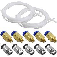 AFUNTA 2 PCS (2 Metros / 6.6 pies) Tubo de teflón PTFE y 5 PCS PC4-M6 y 5 PCS PC4-M10 Compatible con Todas Las impresoras 3D de filamento PLA ABS de 1.75 mm - (2.0mm ID / 4.0mm OD)