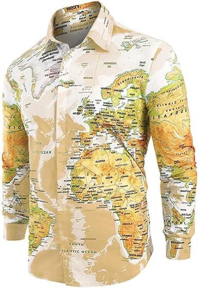 Loeay Camisa de Botones Ocultos con Estampado de Mapa Mundial Primavera Solapa de Manga Larga Camisas Casuales Hombres Tops Ropa de Vacaciones Hawaiana: Amazon.es: Ropa y accesorios