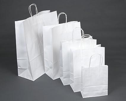 20 bolsas blancas de papel con asa giratoria (30,5 x 12,7 x 40,64 cm)