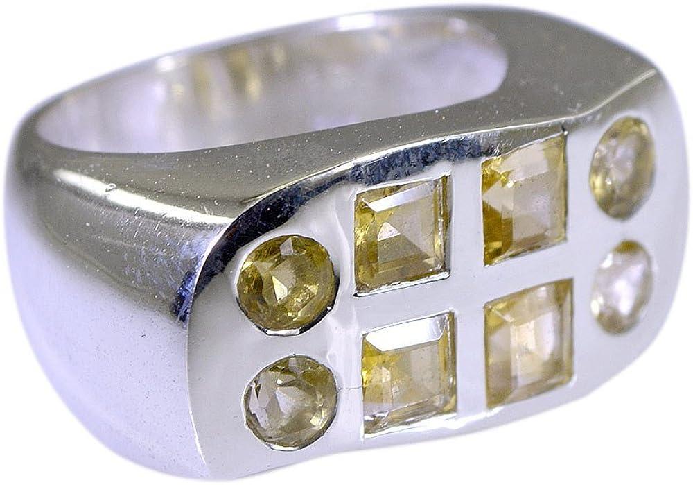 CaratYogi Fine Mixed Shape Citrine Gemstone Ring Sterling Silver Pave Bar Setting Handmade Size 5 to 12