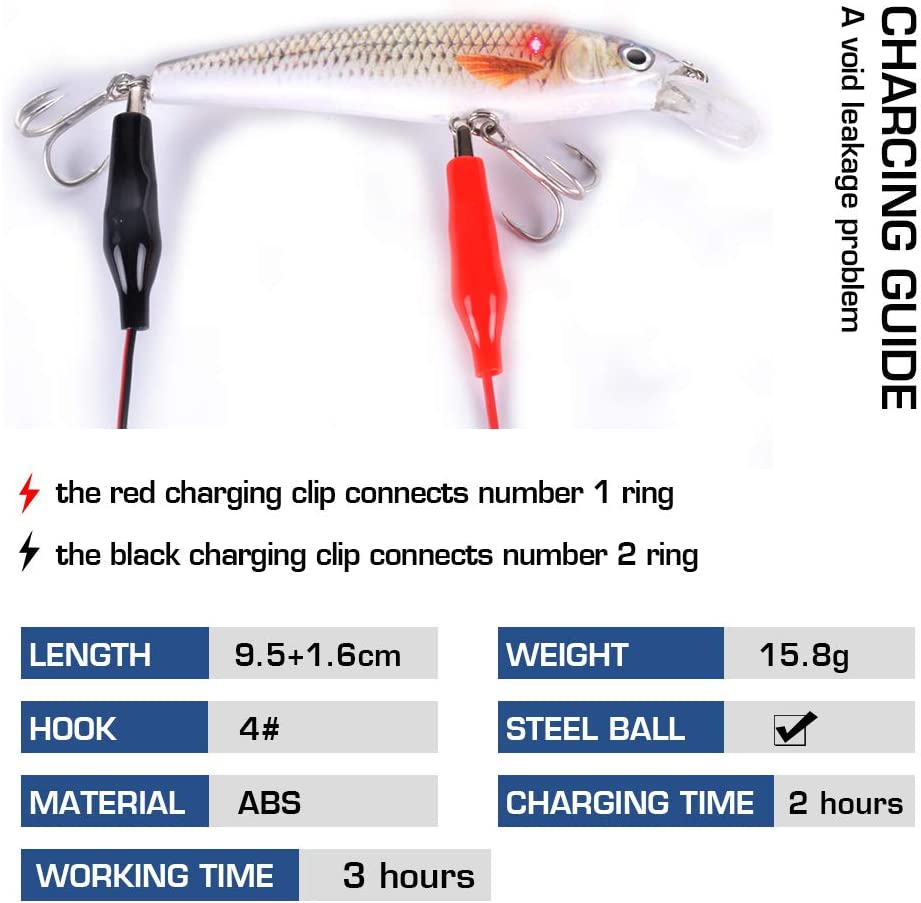 watalure Luminous Vibrating Jerkbait LED Minnow Fishing Lures for Bass Trout Freshwater Saltwater Electric Lures USB Rechargeable Wobbler