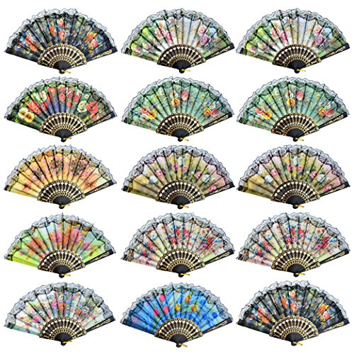 Lee-buty Spanish Floral Folding Hand Fan Vintage Lace Handheld Fans Retro Flowers Pattern Fabric Fans Pack of 16 for Wedding Dancing Church Party