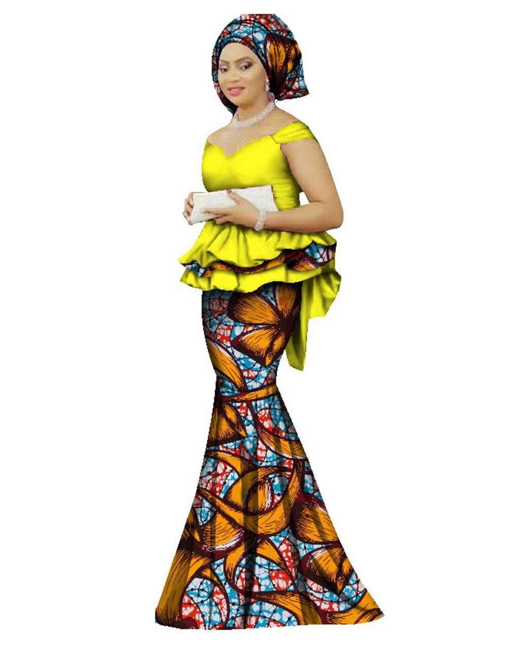 Womens African Prom Dress Ankara Peplum Tops & Head Wrap & Mermaid Skirt Set