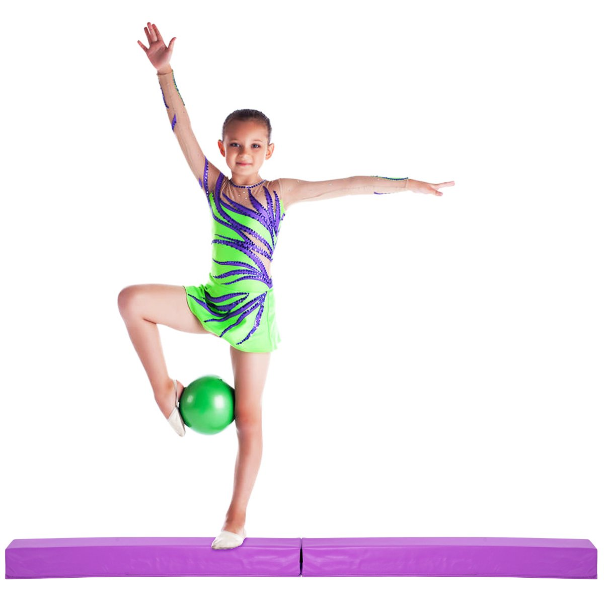 Giantex床バランスビーム体操機器for Beginners & Professional Gymnastsスキルパフォーマンストレーニング簡単ストレージ B079SY3QVV パープル