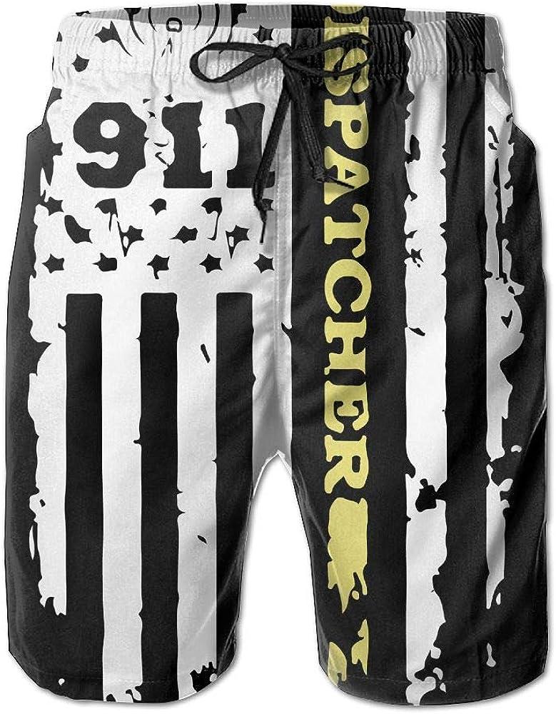 BSKZ@SH Mens Swim Trunks Lightweight 911 Dispatcher Thin Gold Line 100/% Polyester Beachwear
