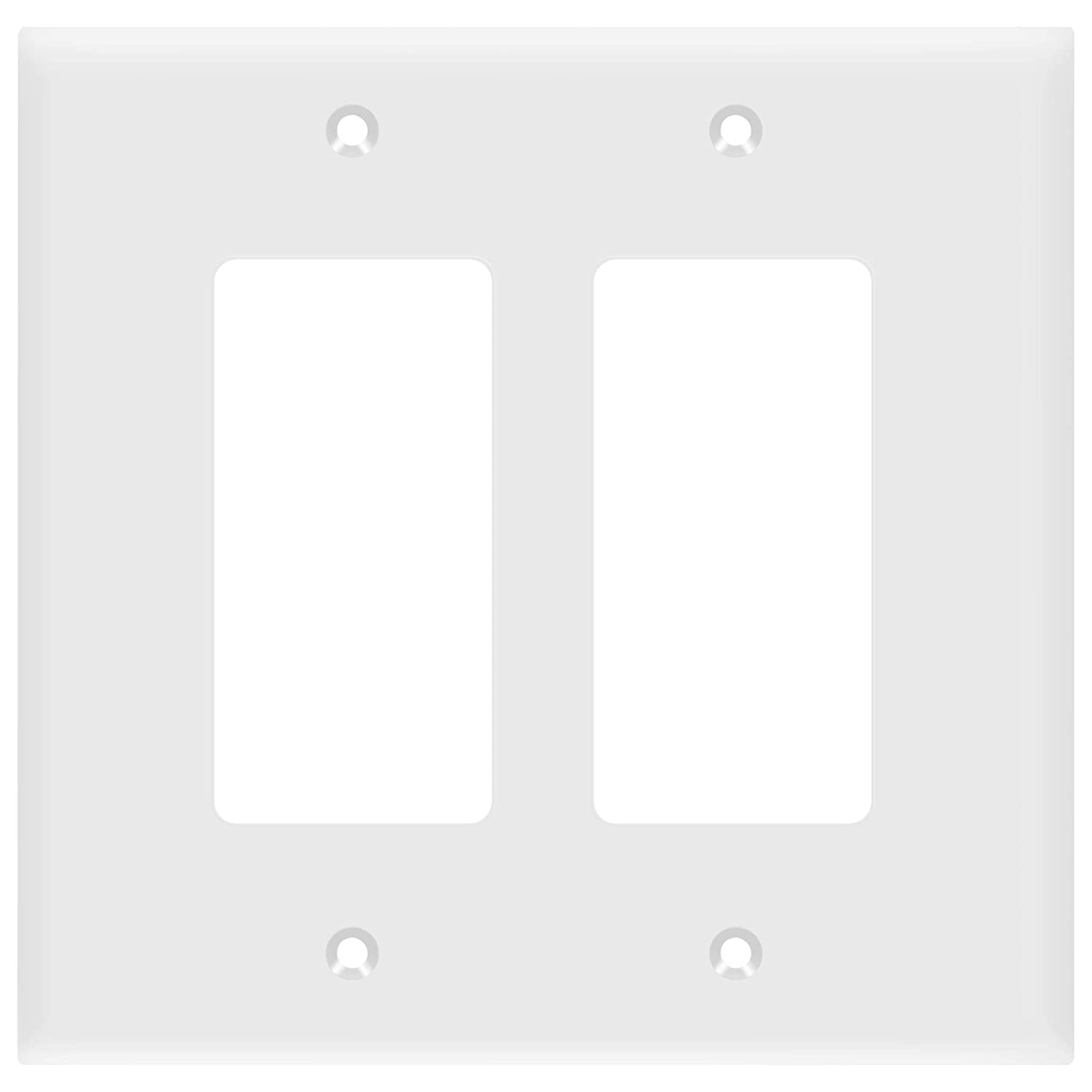 "ENERLITES Decorator Light Switch or Receptacle Outlet Wall Plate, Mid-Size 2-Gang 4.88"" x 4.92"", Polycarbonate Thermoplastic, UL Listed, 8832M-W, White"