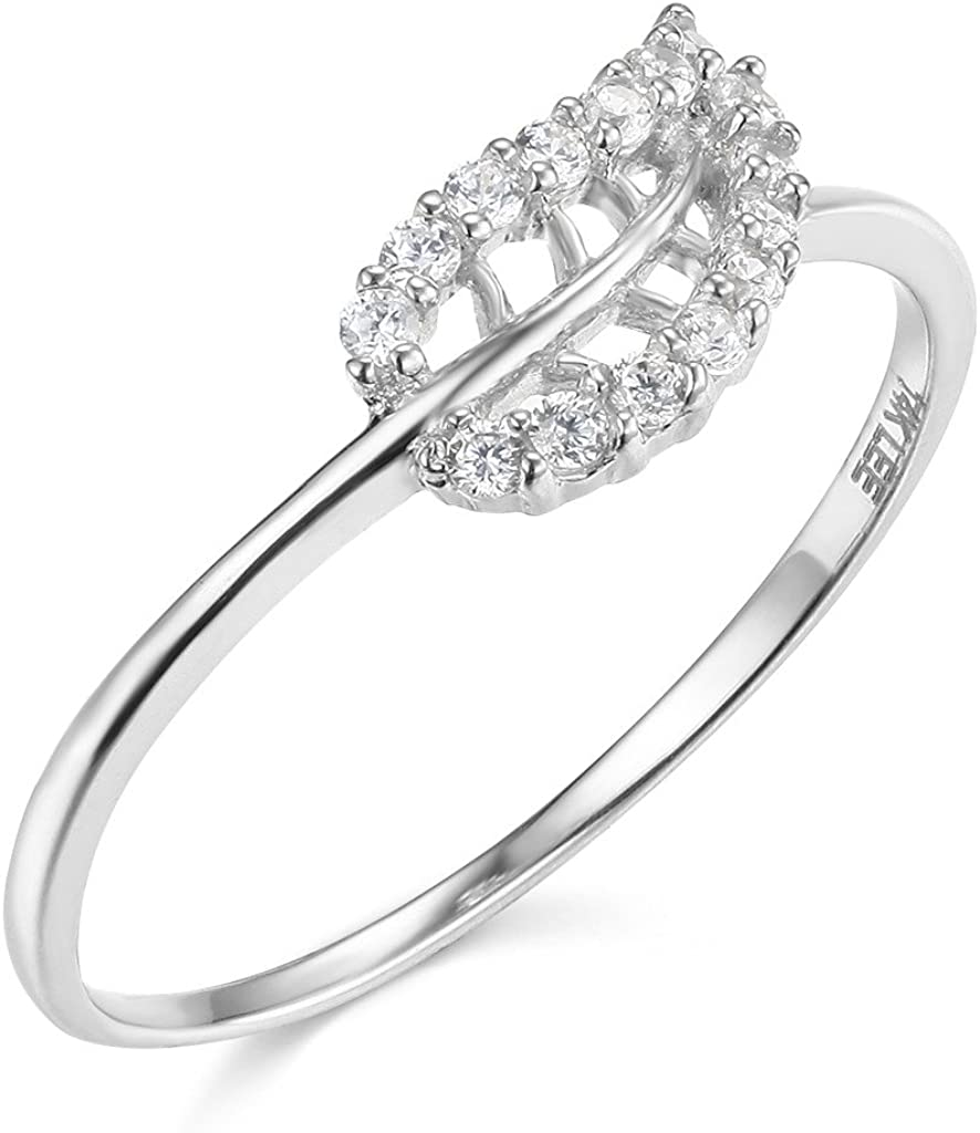 TWJC 14k Yellow OR White Gold Solid Leaf Ring