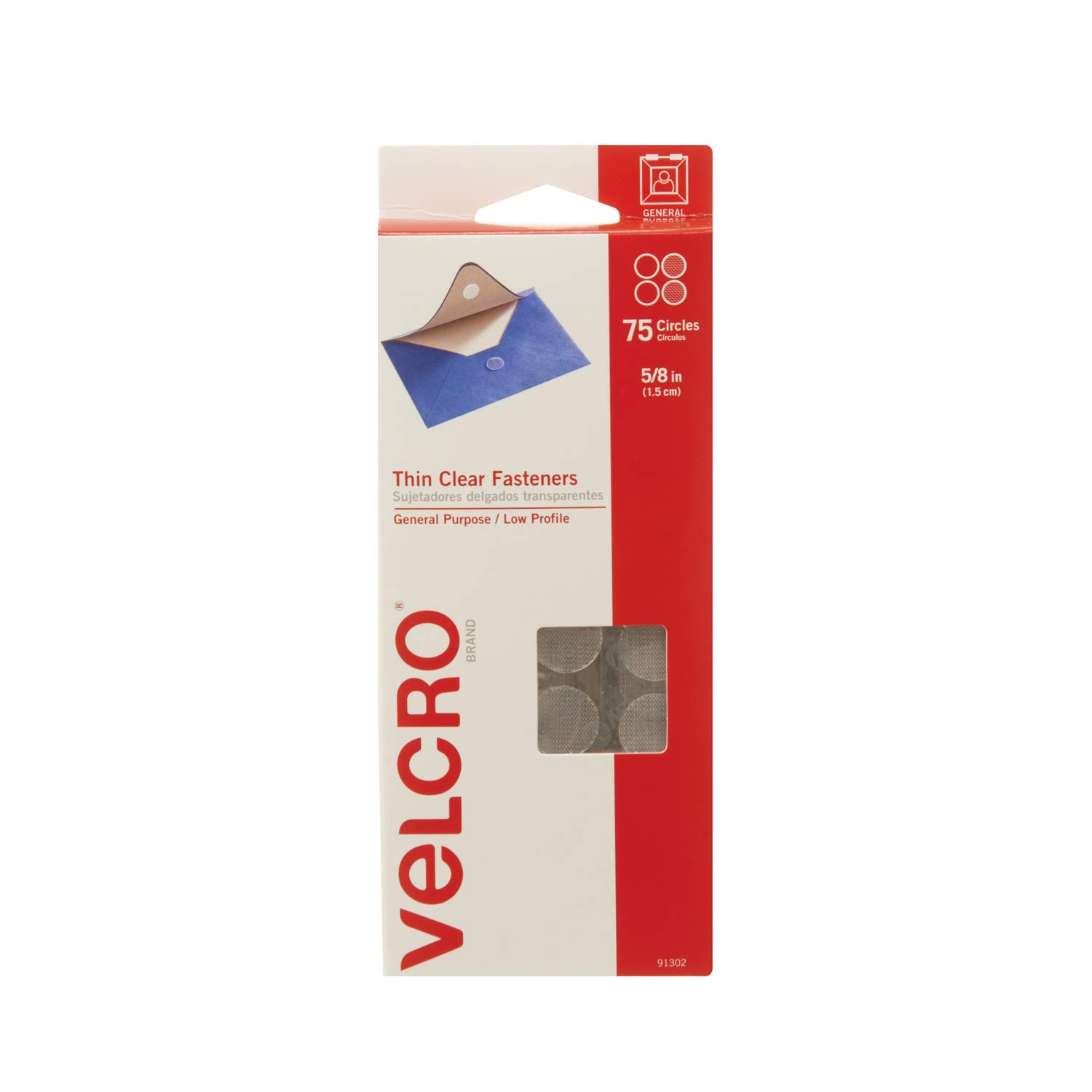 VELCRO Brand - Sticky Back - 5/8 Coins, 75 Sets - Clear Velcro Industries B.V 91302