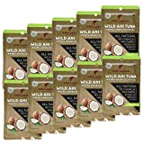 Wild Yellowfin Ahi Tuna Fish in Extra Virgin Coconut Oil (10 Packets Canned Tuna Fish) - Natural Sustainable - No Drain