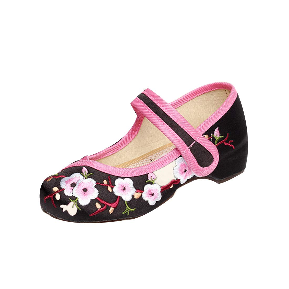 Aiweijia Girls Embroidered Shoes Low Top Increased Dance Solid Color Shoes