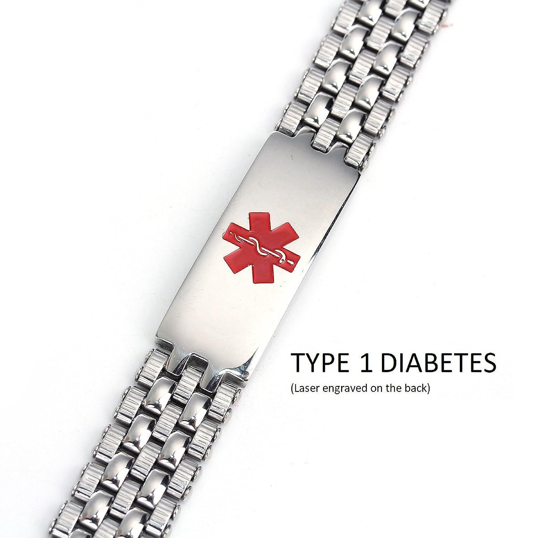 TYPE 1 Diabetes Medical Alert 316L Stainless Steel Unisex Bracelet by JGFinds, 8 1/2 Inch