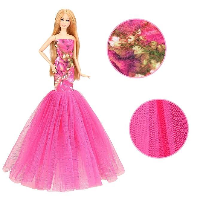 Miunana 2X Trajes de Vestidos para Barbie Dolls=Vestido Rosa Estilo Sirena + Vestido Azul Claro + Velo