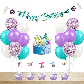 Amazon.com: Decoración para fiesta de cumpleaños de sirena ...