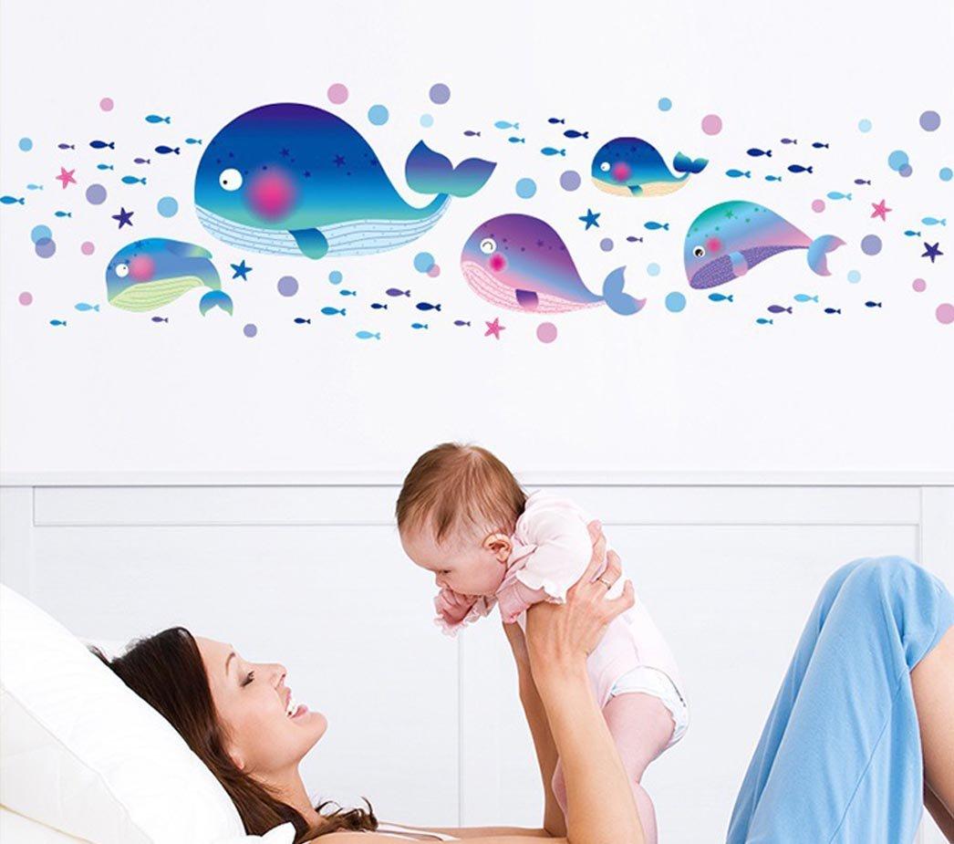 BIBITIME Ocean Sea Vinyl Cartoon Whale Wall Decal Small Starfish Fishes Bubbles Art Stickers for Nursery Kids Room Baby Bathroom Decor