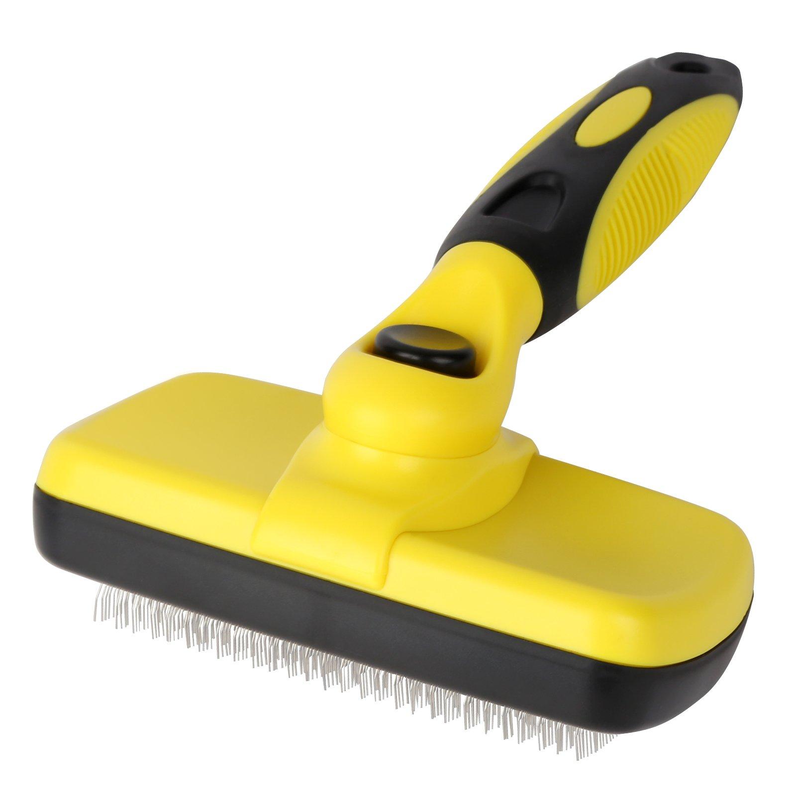 PEDOMUS Pet Self Cleaning Slicker Brush Shedding Grooming Brush Removes Long Short Hair Ergonomic Non-Slip Handle