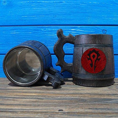 Horde Handmade Wooden Beer Mug, Warcraft