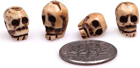 Amazon Com Gem Inside 9x12mm Antiqued Yellow Carved Bone Skull Beads For Halloween Jewelry Making Bulk 20 Pcs Arts Crafts Sewing