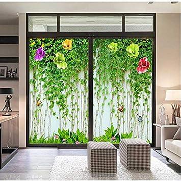 Pegatinas de cristal para puerta corrediza con diseño de flores para espejos, para ventana