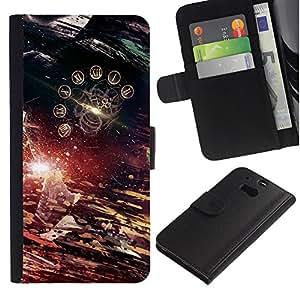 """A-type (Tiempo abstracto"""") Colorida Impresión Funda Cuero Monedero Caja Bolsa Cubierta Caja Piel Card Slots Para HTC One M8"""