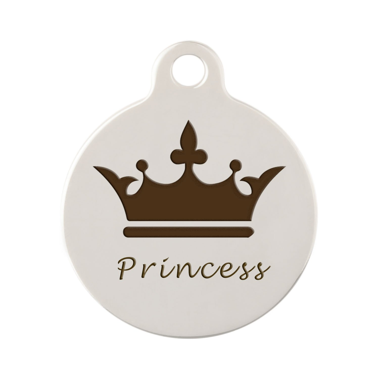 dogIDs Signature Personalized Crown Dog ID Tag - Nickel Plated Brass - 1 Inch Diameter