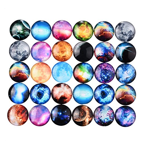 Galaxy Picture Glass Cabochon DIY Pendant Garden Decoration Scrapbooking 20mm 10 Pcs - Glasses Chubby Frames Faces For