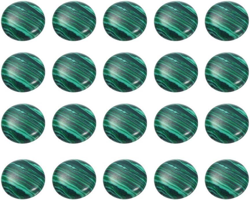 SUPVOX 20 piezas de medio cabujón de media caña con cuentas redondas naturales cuentas de malaquita piedras preciosas semipreciosas cúpulas camafeos para hacer joyas 8 mm