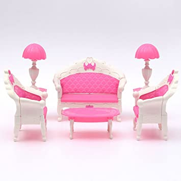 Cute Mini Dollhouse Furniture Living Room Parlour Sofa Set Barbie Accessories Pink Lovely Furnitures