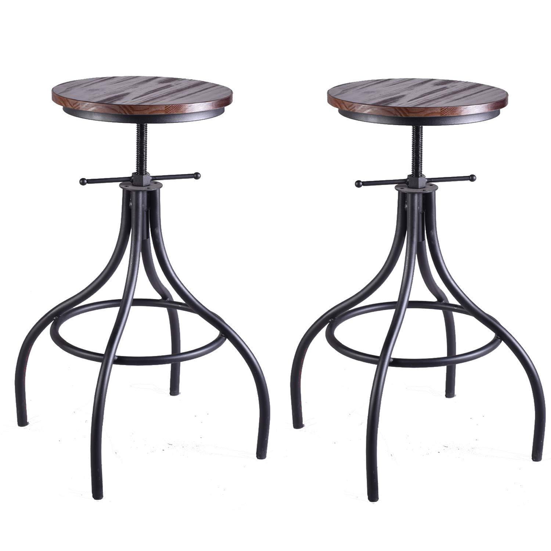 Best Wood Seat Iron Base Bar Stool