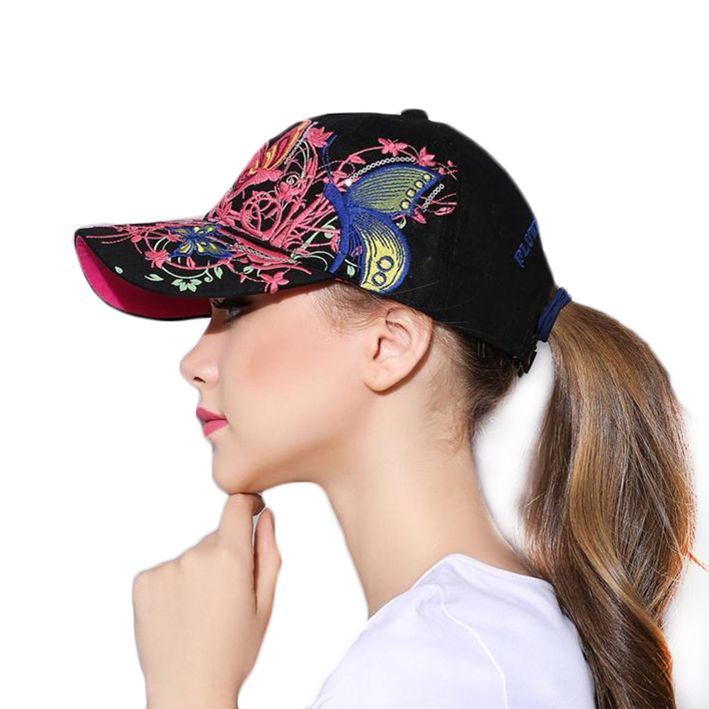 2446d2d7dff LAAT Women Baseball Cap Butterfly Embroidery Hat Cotton Caps Ladies Sun  Protection Hat Travel Sports Hiking Hats  Amazon.co.uk  Clothing