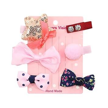 ❤️Amlaiworld 6Pcs Hebillas Bebe Niña Diademas Bebe Recien Nacidos Horquilla bebé niña Pinza para el cabello flor de lazo Conjunto (D): Amazon.es: Belleza