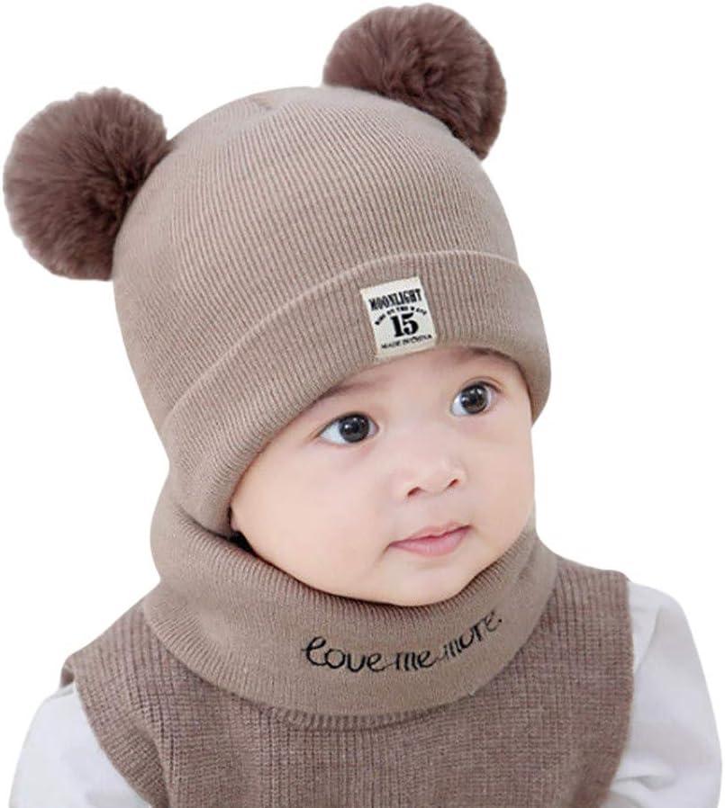 Baby Toddler Kid Boy Girl Winter Warm Knitted Crochet Beanie Hat Cap Scarf Set 0