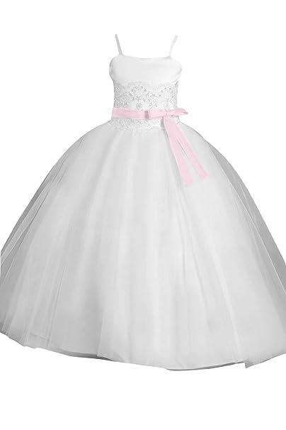 Sunvary moderno Formal Satén de para espaguetis de flores niña vestidos fiesta vestidos de novia Blanco