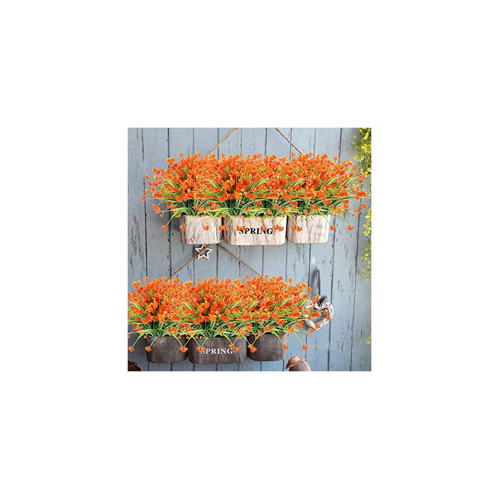 TEMCHY Artificial Daffodils Fake Flowers, 4 Bundles Orange UV Resistant Faux Greenery Foliage Plants Shrubs for Garden, Wedding, Outside Hanging Planter, Farmhouse Indoor Outdoor Decor
