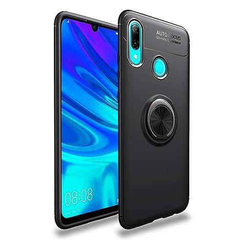 LAGUI Funda Adecuado para Huawei P Smart 2019, Soporte de Montaje Magnético del Coche Carcasa Especial, con Anilla Posterior, Pistola Color+Negro