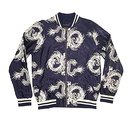 - Standard Issue Unisex Navy/Silver All-Over Dragon Souvenir Jacket