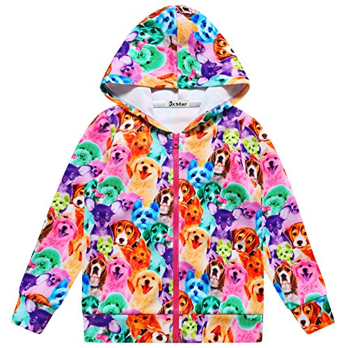 Jxstar Girls Bomber Jacket Cartoon Rainbow Dog Print Long Sleeve Full Zip Pocket Coat Outwear Rainbow Dog 110 Rainbow Dog Coat 3-4Years Height (110 Street Sign)