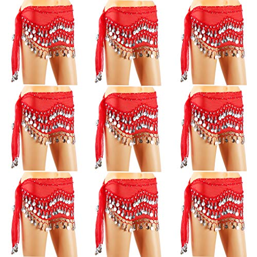 Cosics Belly Dance Skirt, 10PCS/LOT Women's Belly Dancing Hip Scarf Red with 128-Silver Coins, Sequins Hip Scarves Waist Wrap Belt for Halloween Costumes ()