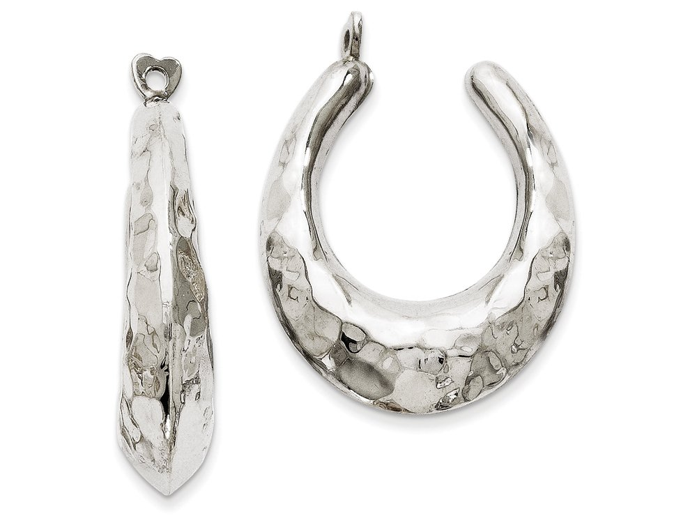 14k White Gold Hammered Hoop Earring Jackets