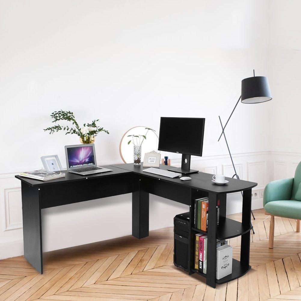 Tosoo - Scrivania angolare Forma per PC o computer portatili, ad L, con scaffalatura per libri, per uffici o studi in casa