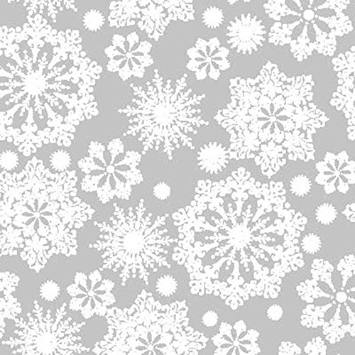 Hampshire Paper 30-Inch-Wide Krystalphane Decorated Cellophane, 1 Roll 100 Feet Long - White Crystal Snowflakes Design