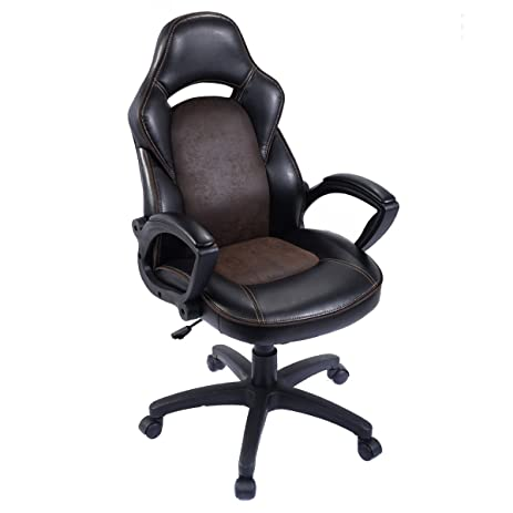 Giantex High Back Race Car Style Bucket Seat Office Desk Chair Gaming Chair  Brown