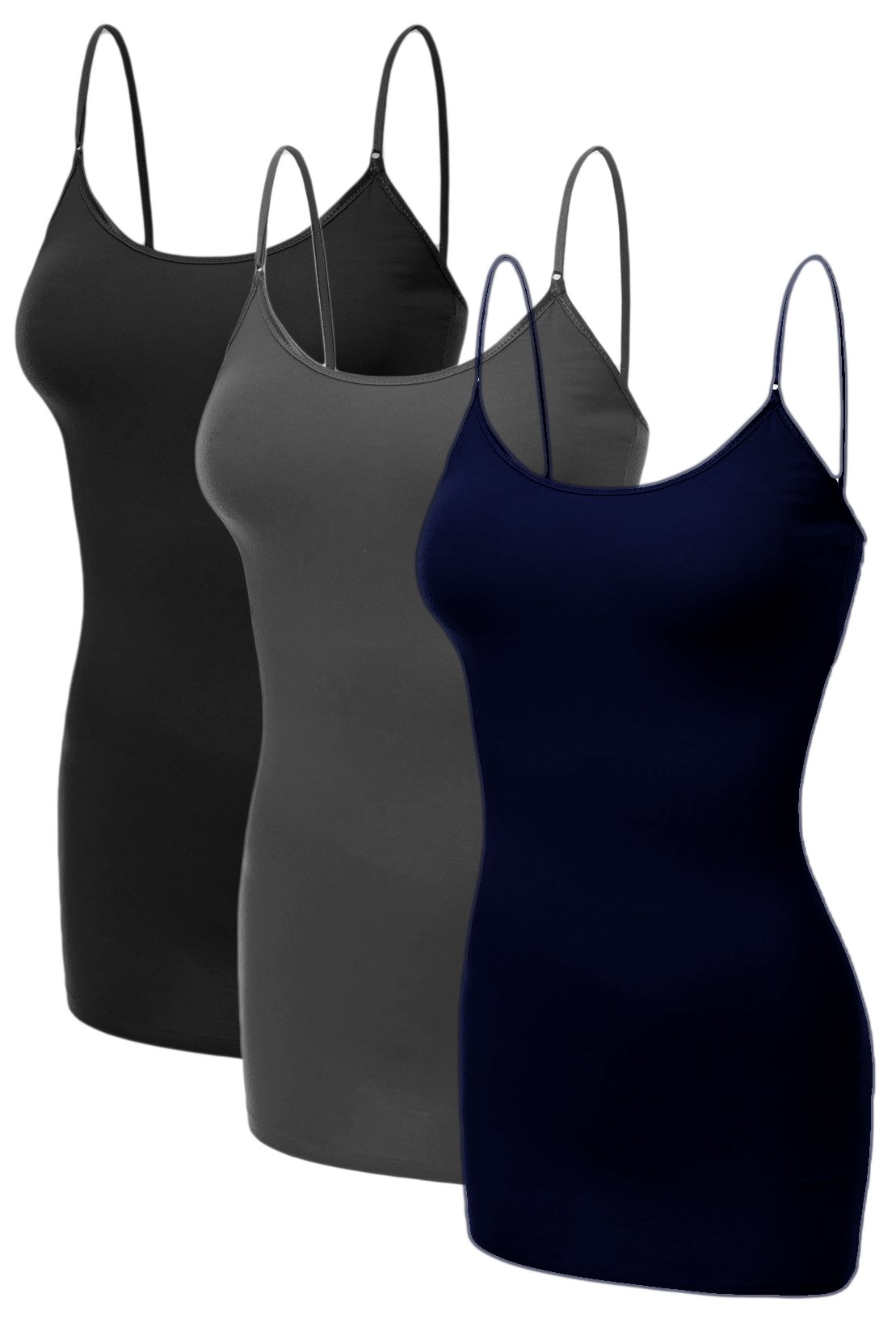 Emmalise Women's Basic Plus Size Long Camisole Cami Top Value Combo - 3Pk - Black, Charcoal, Navy, 1XL
