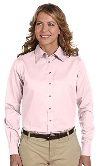 12a092c6ef5ff Image Unavailable. Image not available for. Color  Harriton Ladies  Easy  Blend Long-Sleeve Twill Shirt with Stain-Release ...