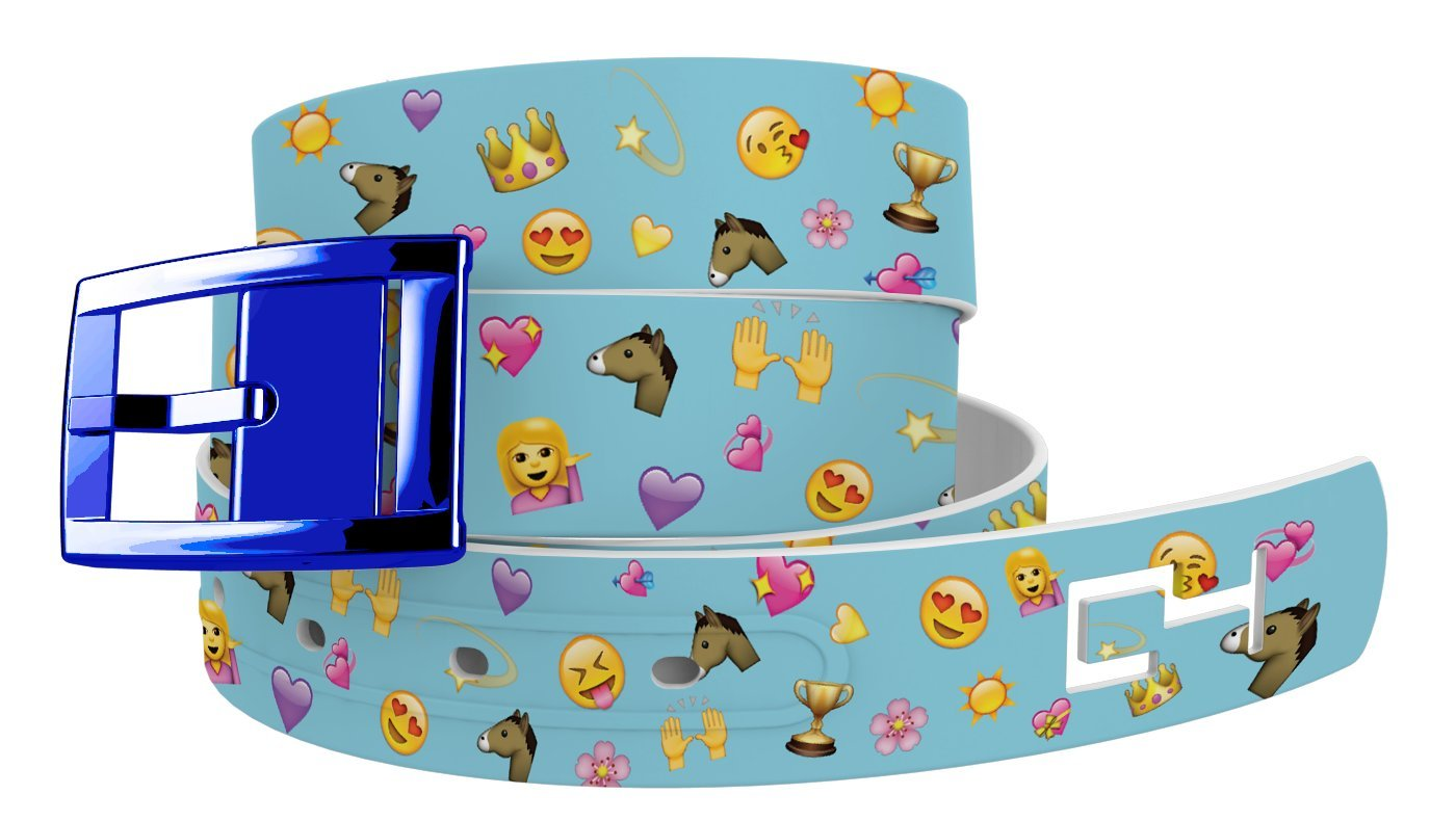 C4 Equestrian Design Belt: Horse Love Emoji Strap/Blue Chrome Buckle - Equestrian Horseback Riding Belt for Women