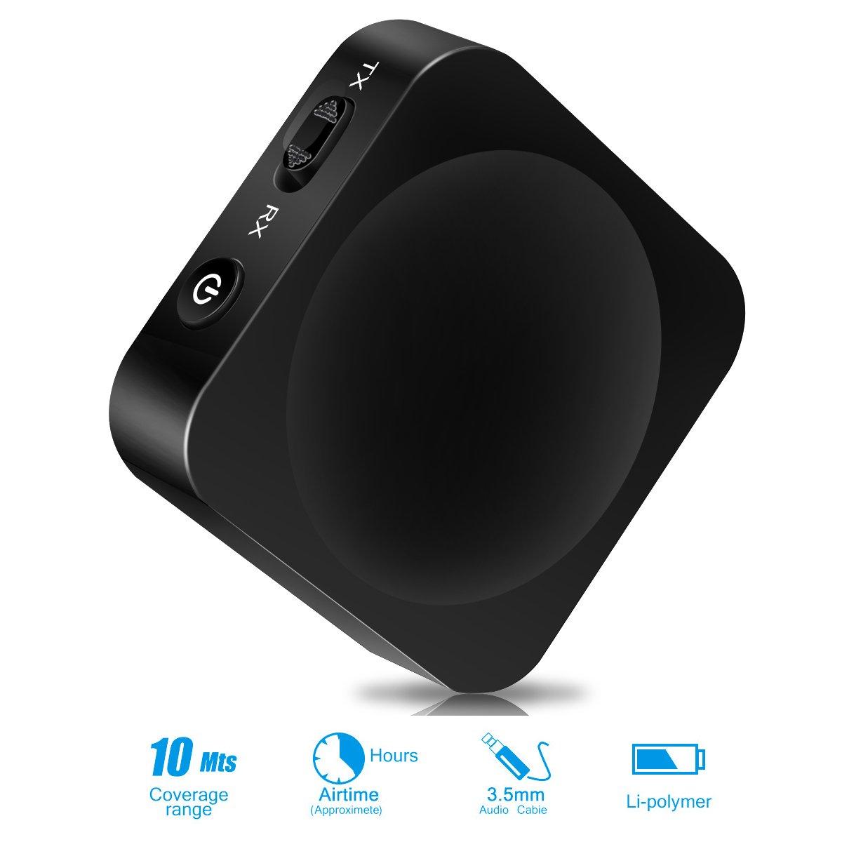 Keenstone Bluetooth Trasmettitore Ricevitore 2-in-1, adattatore Bluetooth senza fili Bluetooth 4.1 2 dispositivi Sistema di effetti sonori perfettamente perfetto