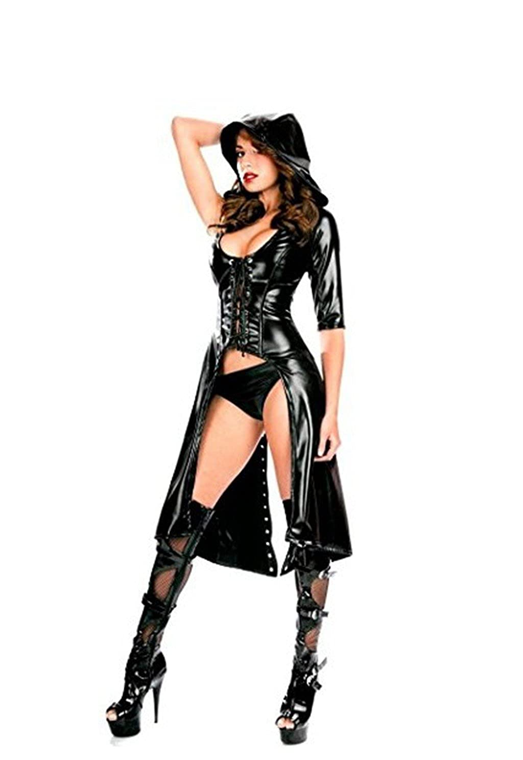 4570f700f Amazon.com  Freebily Women s Patent Leather Hooded Lace Up Cosplay Catsuit  Bodysuit Clubwear Lingerie Set Black  Clothing
