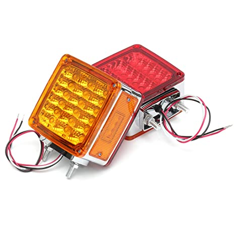Uokoki 2pcs 12V Rojo/ámbar 39 LED de la Plaza Doble Cara con Pedestal de