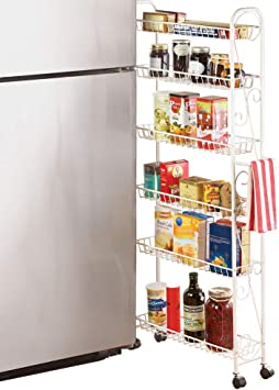 Slim Rolling Pantry 6-Tier Shelf, White Metal with Elegant Scroll Design on portable camping pantry, movable pantry furniture, movable kitchen islands, movable kitchen furniture, 8ft doors pantry, movable closets, movable kitchen bar, movable wood burning fireplace, movable kitchen storage, movable kitchen sink, movable kitchen cupboard, movable cabinets,